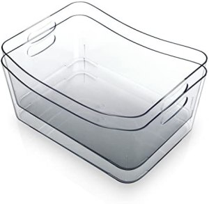 BINO Clear Plastic Storage Bin with Handles – Plastic Storage Bins for Kitchen, Cabinet, and Pantry Organization and Storage – Home Organizers and Storage – Refrigerator and Freezer (2PK- Large)