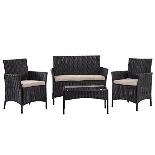 Bestmassage Outdoor Furniture Patio Sofa Set Wicker Rattan Sectional