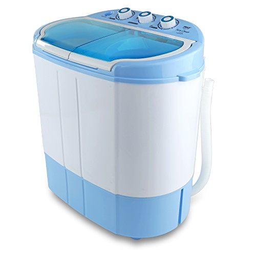 Upgraded Version Pyle Portable Washer & Spin Dryer, Mini Washing Machine, Twin Tubs, Spin Cycle w/ Hose, 11lbs. Capacity, 110V – Ideal For Compact Laundry