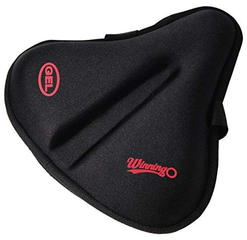 WINNINGO Exercise Gel Bicycle Saddle Cover Wide Cycling Seat Cushion for Wide Bike Saddle Large Bicycle Seat Pad (Black-XL)