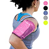 Phone Armband Sleeve: Best Running Sports PINK Arm Band Strap Holder Pouch Bag Case for Gym Exercise Fitness Workout Fits All Smartphone Cell Phones With Sweatproof for Women, Girls, Men, Kids (SMALL)