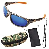 Polarized Camouflage Sport Fishing Sunglasses for Men and Women - Ideal for Driving - Fishing - Cycling - Running - Eye Protection for Shooting - Ultimate 100% UV Protection.(Camouflage & Blue Lens)