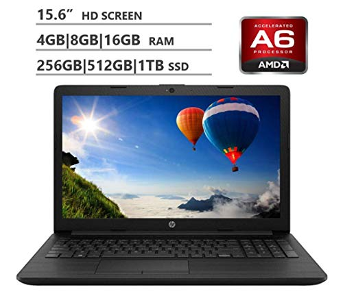 "2019 HP Premium 15.6"" HD Laptop, AMD A6 Dual-Core 2.6 GHz, 4GB 8GB 16GB RAM, 1TB 2TB HDD, 128GB 256GB 512GB 1TB SSD, WiFi Bluetooth HD Webcam 3-in-1 SD Reader HDMI, Windows 10, Black"