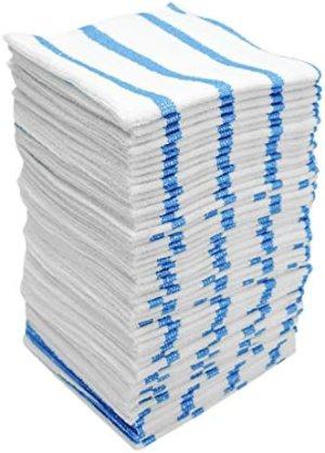 VIKING 449701 Bulk Edgeless Microfiber Cleaning Cloths, White and Blue Stripe, 50 Pack