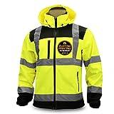 KwikSafety (Charlotte, NC) AGENT Class 3 SoftShell Safety Jacket | ANSI Water Resistant Lightweight Reflective Hi Vis PPE Detachable Hood| Wind Rain Construction, Men Women Yellow | Medium