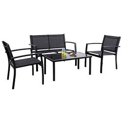 Flamaker 4 Pieces Patio Furniture Outdoor furniture Outdoor Patio Furniture Set Textilene Bistro Set Modern Conversation Set Black Bistro Set with Loveseat Tea Table for Home, Lawn and Balcony (Black)