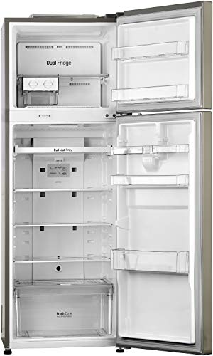 41HVwN6DWGL LG 284 L 3 Star Inverter Frost-Free Double Door Refrigerator (GL-T302RPZN, Shiny Steel)