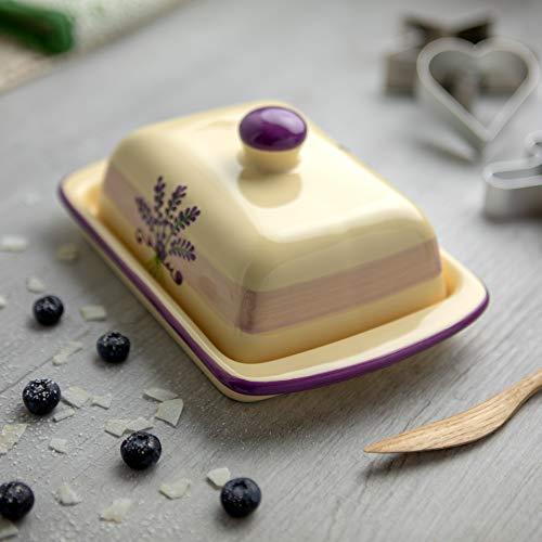 Lavender Floral Purple Butter Dish