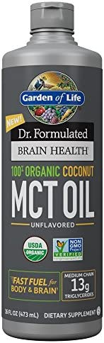 Garden of Life Dr. Formulated Brain Health 100% Organic Coconut MCT Oil 16 fl oz Unflavored, 13g MCTs, Keto & Paleo Diet Friendly Body & Brain Fuel, Certified Non-GMO Vegan & Gluten Free, Hexane-Free 3