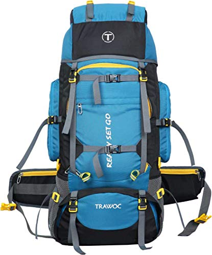 41HZ6nGuztL - TRAWOC 80L Travel Backpack for Outdoor Sport Camp Hiking Trekking Bag Camping Rucksack HK007 (SkyBlue) 1 Year Warranty