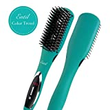 Hair Straightening Brush Straightener Ceramic Professional Iron 2.0 Negative Ions Electric Dual Voltage Auto Shut Off Digital Controls for Women with Curly Natural Short Black Hair Travel Entil