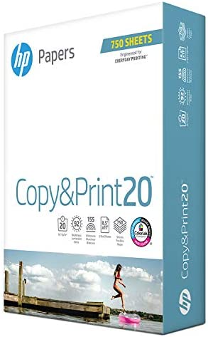 HP Printer Paper 8.5×11 Copy&Print 20 lb 1 Bulk Pack 750 Sheets 92 Bright Made in USA FSC Certified Copy Paper HP Compatible 200030R
