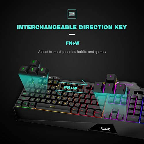 havit Wired Gaming Keyboard Mouse Combo LED Rainbow Backlit Gaming Keyboard RGB Gaming Mouse Ergonomic Wrist Rest 104 Keys Keyboard Mouse 4800 DPI for Windows & Mac PC Gamers (Black)