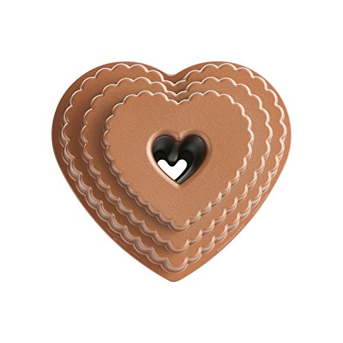 Nordic Ware 89937 Cast Bakeware Tiered Heart Bundt, Bronze