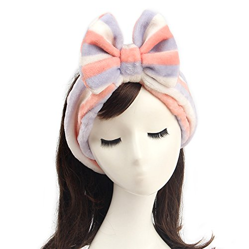 Shintop Women Fashion Lovely Soft Carol Fleece Bowknot Bow Makeup Cosmetic Shower Elastic Hair Band Hairlace Headband (Purple Stripe)