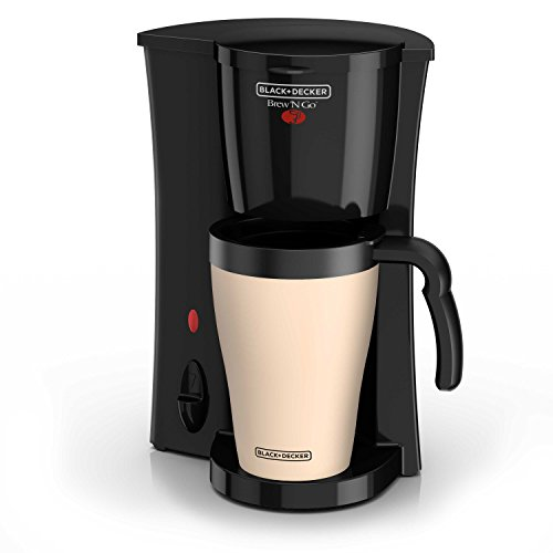 BLACK+DECKER Brew 'n Go Personal Coffeemaker with Travel Mug, Black/Beige, DCM18