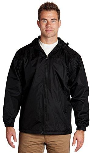 Equipment De Sport USA Men's Hooded Water Resistant Front Zip Lined Windbreaker Jacket 3XLarge Black