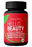 Premium Biotin For Hair Growth, Hair, Skin And Nails Vitamins For Women - Hydrolyzed Collagen, Hydrolyzed Keratin & Bamboo Stem Extract   Natural, Non-GMO   60 Capsules   Ladybug Potions Hello Beauty