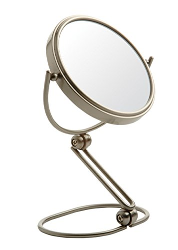 Jerdon MC449N 5.5-Inch Folding Travel Mirror with 10x Magnification and Velveteen Storage Pouch, Nickel Finish