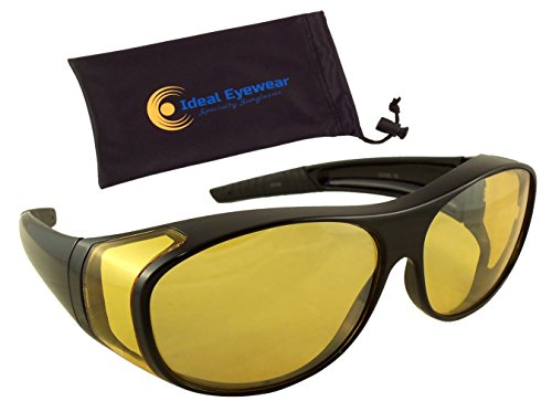 Ideal Eyewear Night Driving Wear Over Glasses Fit Over Prescription Glasses - Yellow Lens for Better Night Vision (Black Frame with case, Large)