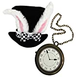 White Rabbit Costume Set, Black Top Hat with White Rabbit Ears, with Jumbo Clock Necklace, Halloween Costume Accessory's Hip Hop Rapper Costume by 4E's Novelty