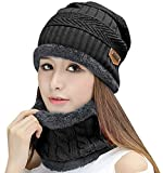 Product review of HindaWi Womens Beanie Winter Hat Scarf Set Slouchy Warm Snow Knit Skull Cap