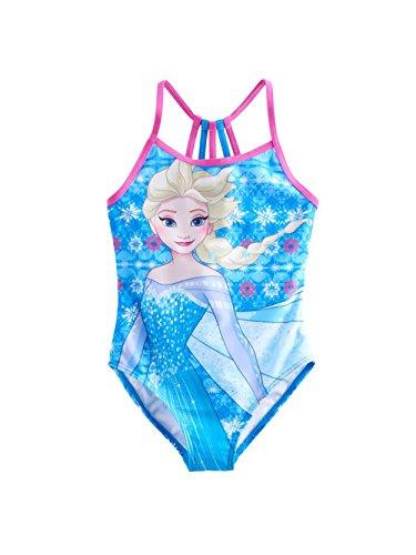Disney Frozen Elsa Girls One Piece Swimwear Swimsuit (4, Blue)