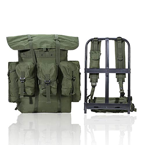 Akmax.cn Military Surplus Rucksack Alice Pack,Army Survival Combat Field,Bug Out Bag, A.L.I.C.E. Backpack with Suspender Strap and Frame 600D Polyester Olive Drab