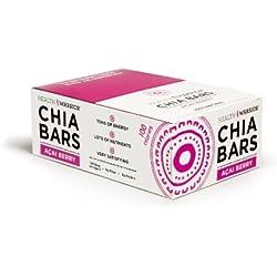 HEALTH WARRIOR Chia Bars, Acai Berry, Gluten Free, Vegan, 25g bars, 15 Count