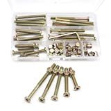 Baby Bed Crib Screws Hardware Replacement Kit, cSeao 25-Set M6x40mm/ 50mm/ 60mm/ 70mm/ 80mm Hex Drive Socket Cap Screws Barrel Nuts Assortment Kit for Beds Headboards Chairs Furniture