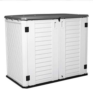 Horizontal Outdoor Garden Storage Shed for Backyards and Patios, Plastic Storage Box Waterproof, Small Shed 26 Cubic…