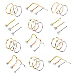 Milacolato 36Pcs 316L Stainless Steel Nose, Gold-Silver-Rose-Gold, Size No Size