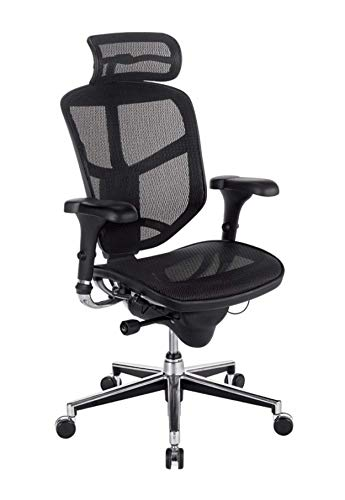 Workpro Pro Quantum 9000 Series Ergonomic Mesh High-Back Chair With Headrest, Black