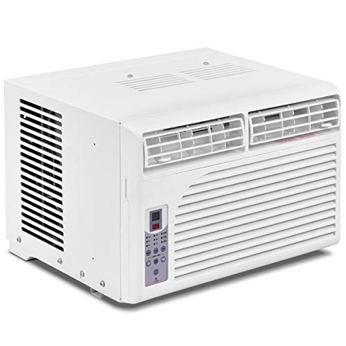 COSTWAY Cold Air Conditioner Window-Mounted Compact w/Remote Control 115V, White (6000 BTU)