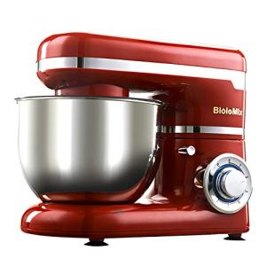 WJSW Food Stand Mixer Dough Blender, 1200W Kitchen Cake Mixer 6 Speeds Noiseless Less Than 80, 3-in-1 Beater/Whisk/Dough Hook/4 L Mixing Bowl (Red) 41I8fdn8BqL