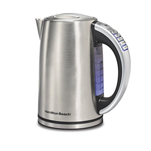 Hamilton Beach Electric Kettle, Tea and Hot Water Heater, Variable Temperature, Cordless Serving, Keep Warm, Soft Blue LED (41020), 1.7 Liter, Stainless Steel