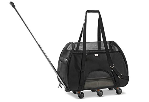 WPS Airline Approved Removable Wheeled Pet Carrier for Small Pets. Upgraded Structural Design for Ultimate Strength, Features Mesh Panels & Plush Mat. Compact and Durable. 19'x22'x11'