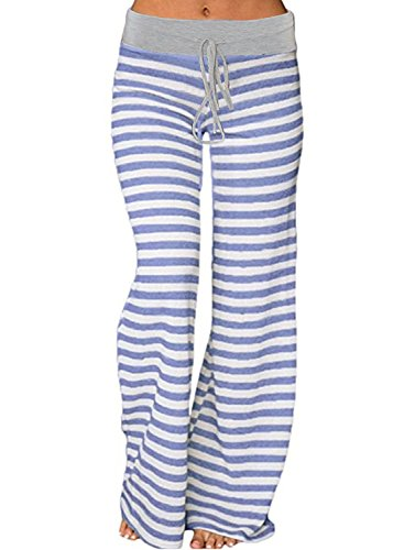 Young17 Women's Stretch Comfy Striped Wide Leg Drawstring High Waist Palazzo Pajama Sport Pants,Blue,Large=US 6