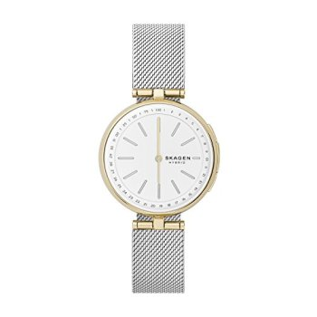 Skagen Connected Women's Signatur T-Bar Two-Tone Stainless Steel Mesh Hybrid Smartwatch, Color: Gold and Silver-Tone (Model: SKT1413)