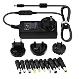 65W Laptop Charger for Sony Toshiba Asus Lenovo Acer HP Samsung etc, 15~24 Voltage Adjustable; 10 Charging Tips, Interchangeable AC Blades for USA EU UK & Oceania Included Best for Universal Traveler