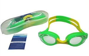 Silicone Kids Swim Goggle ,No Leaking Anti Fog UV Protection kid Swim Goggles with Free Protection Case for Kids Toddlers Early Teens (Green with Yellow)