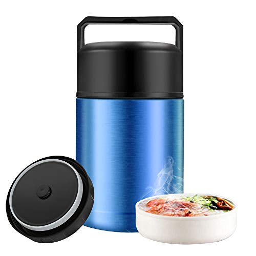 Food Jar for Hot Food Wide Mouth,27 oz BPA Free Thermos Lunch Box with Handle Lid,Leak Proof Double Wall Vacuum Insulated Soup Container,Stainless Steel Thermal Food Flask for Ice Snack (Blue)