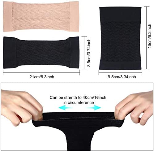 2 Pair Arm Slimming Shaper Wrap, Arm Compression Wrap Sleeve Helps Lose Arm Fat, Tone up Arm Shaping Sleeves for Women, Sport Fitness Arm Shapers(Beige + Black) 5