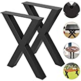 VEVOR Set of 2 Steel Table Legs 28'x 24' Dining Table Legs 28'Height 24'Wide Office Table Legs Computer Desk Legs Steel Bench Legs Country Style Table Legs DIY Furniture Legs (X-Shape/B)