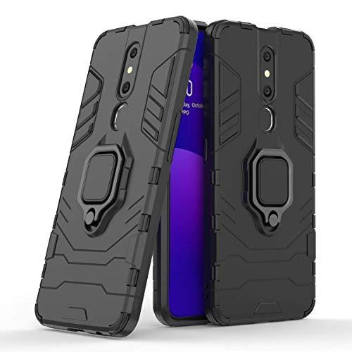Casodon Back Cover Kickstand View Ring Holder Armor Case for Oppo F11 Pro (Black) 1