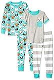Spotted Zebra Kids 4-Piece Snug-Fit Cotton Pajama Set, Puppies Small (6-7)