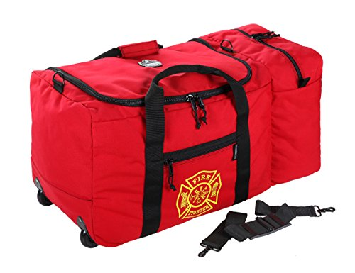 Ergodyne Arsenal 5005W Large Nylon Rolling Firefighter Rescue Turnout Fire Gear Bag with Shoulder Strap and Helmet Pocket