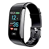 Smart Wristbands Watch Fitness Tracker Blood Pressure Heart Rate Monitor IP67 Waterproof Fitness Tracker Pedometer Sport Bracelet (Black) …