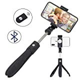 Selfie Stick, Aessdcan Selfie Stick Tripod with Wireless Bluetooth Remote Shutter Compatible with iPhone Xs/Max/Xr, X, 8/8P, 7/7P, 6/6S, 5/5S, Samsung S8, S7, S6 and More (Black)