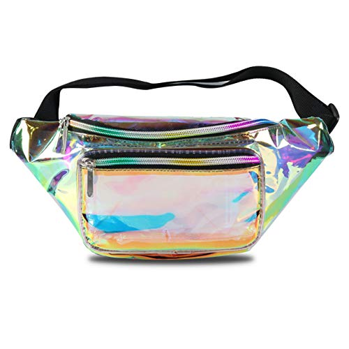 Mum's memory Clear Fanny Pack for Women - Waterproof Transparent Men Waist Pack NFL & PGA & NCAA Stadium Approved Clear Bag (A Clear Gold)